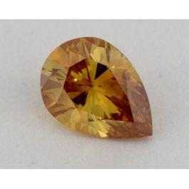 0.49 Carat, Natural Fancy Deep Orange -Yellow, Pear Shape, SI1 Clarity, GIA