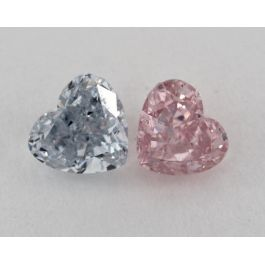 1.49 Carat, Pair of Natural Fancy Blue and Natural Fancy Intense Pink, Heart Shape, SI2 Clarity, GIA