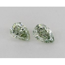 2.13 Carat, Pair of Natural Fancy Intense Green and Natural Fancy Intense Yellowish Green, Pear Shape, SI2 Clarity, GIA