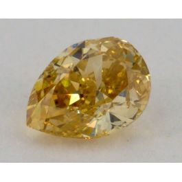 0.45 Carat, Natural Fancy Deep Orangy Yellow Diamond, Pear Shape, VS1 Clarity, GIA