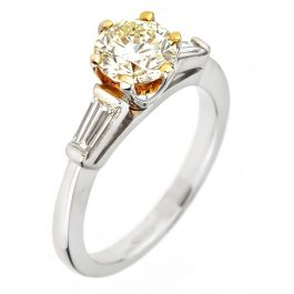 Engagement Ring with 1.30 carat, Fancy Yellow Center stone, 4.60gr. 18K Gold.