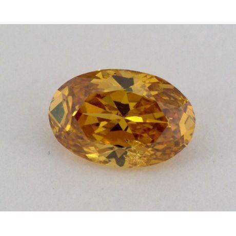 0.44 Carat, Natural Fancy Deep Orange - Yellow, Oval Shape, SI2 Clarity, GIA