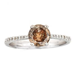 Engagement ring with 1.09ct Brown Diamond, I1 Clarity and 2.10gr. 18K Gold