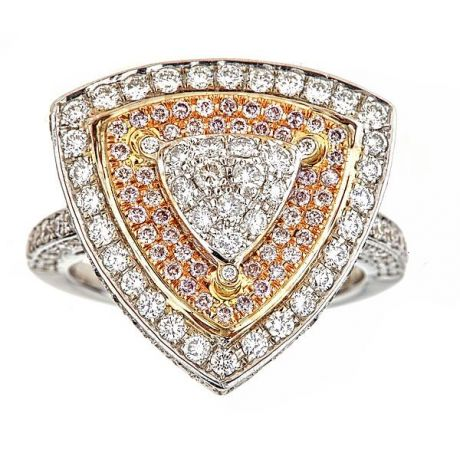 4.80 Carat, Ring with White and Pink Diamonds, 11.50gr., 18K Gold