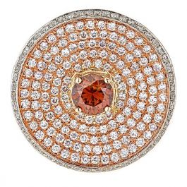 2.52 Carat, Ritzy Round Ring with Diamonds, SI1 Clarity, 7.90gr. 18K Gold