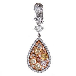 5.90 Carat, Elegant Earrings with Fancy Colored Diamonds, VS2 Clarity,  11.90gr. 18K Gold