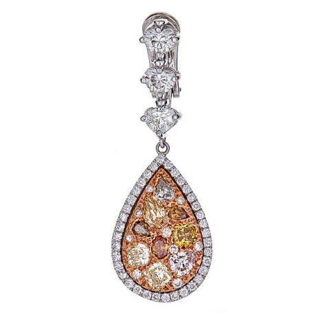 5.90 Carat, Elegant Earrings with Fancy Colored Diamonds, VS2 Clarity,  11.90gr. 18K Gold