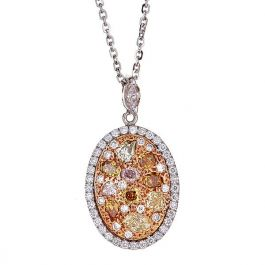2.79 Carat, Exclusive Pendant with Natural Fancy Colored Diamonds, VS Clarity, 6.10gr. 18K Gold