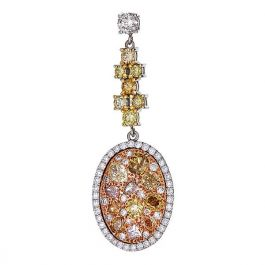 6.06 carat, Earrings with Natural Fancy Color Diamonds, SI Clarity, 10.30gr. 18K Gold