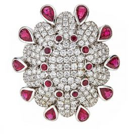 2.01 carat Ring with 2.45 carat Rubies and 22gr. 18K Gold
