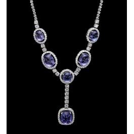 Exquisite Necklace with 4.09 carats diamonds and 20.02cts Tanzanite stones