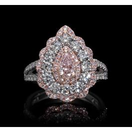 2.27 carats Ring with Light Pink diamond and 7.40gr. 18K Gold