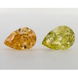 Pair of Fancy Vivid Orange Yellow, 1.10 & 1.01 Carats, I1 Clarity, GIA