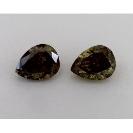 Pair of Fancy Dark Brownish-Greenish Yellow, 2.01 &2.03 Carats, Chameleon, GIA