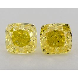Pair of Fancy Vivid Yellow 3.51 Carat, VVS1-VS1 Clarity, GIA