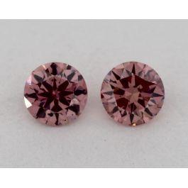 Pair of 0.13 Carat each, Fancy Intense Pink, Round, GIA