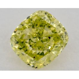 0.94 Carat, Fancy Intense Greenish Yellow, Cushion, SI2 Clarity, GIA