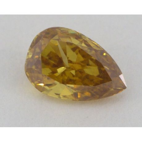 0.59 Carat, Natural Fancy Deep Brownish Orangy Yellow, Pear Shape, I1 Clarity, GIA, W0120