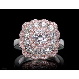 0.98 carat, Ring with Round Faint Pink Diamond, GIA