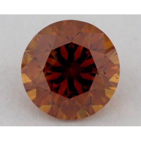 0.77 Carat, Natural Fancy Deep Brownish Yellowish Orange, Round Shape, SI2 Clarity, GIA