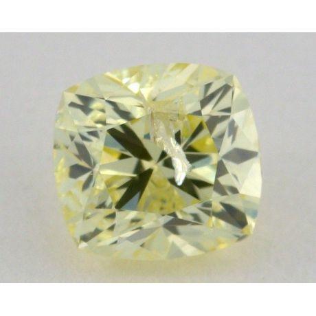 1.00 Carat, Natural Fancy Yellow, Cushion Shape, I1 Clarity, IGI