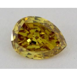 0.29 Carat, Natural Fancy Deep Greenish Yellow, Pear Shape, SI2 Clarity, IGI