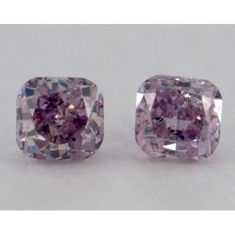 0.32 Carat, Pair of Natural Fancy Intense Purple, Cushion Shape, I1 Clarity, IGI