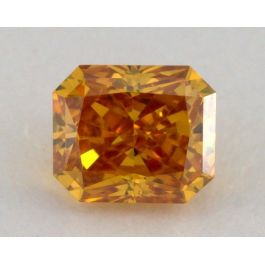 0.20 Carat, Natural Fancy Vivid Orange, Radiant Shape, VS2 Clarity, IGI