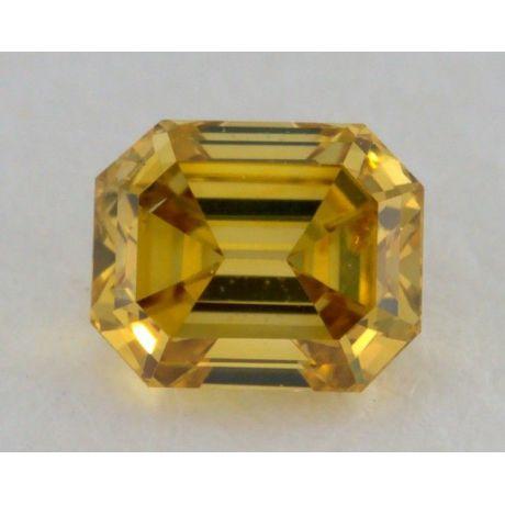 0.18 Carat, Natural Fancy Deep Yellow, Emerald Shape, SI1 Clarity, IGI