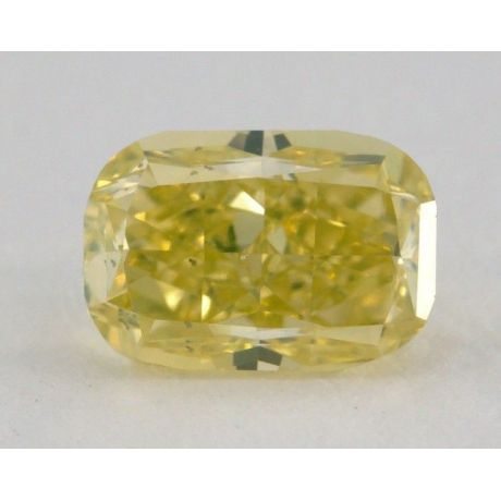 0.75 Carat, Natural Fancy Intense Greenish Yellow, Cushion Shape, SI2, GIA