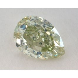 1.00 Carat, Natural Fancy Yellow-Green, Pear Shape, SI2 Clairty, GIA