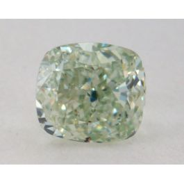 0.78 Carat, Natural Fancy Intense Yellowish Green, Cushion Shape, SI2 Clarity, GIA
