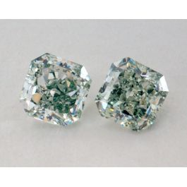 0.70 carat, Pair of Natural Fancy Green, Radiant Shape, SI2 Clarity, GIA