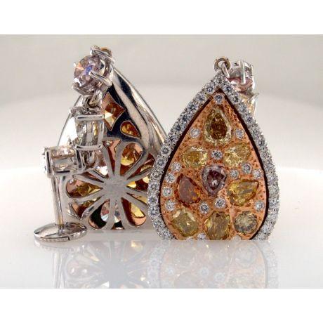 4.84 carat, Fancy Color Earrings, Pear shape, VS Clarity, 9.00 gr. Gold