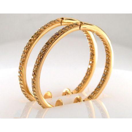 1.00 carat, Earrings with Fancy Vivid Yellow diamonds, VS-SI clarity