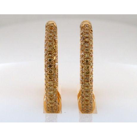 1.50 carat, Earrings with Fancy Vivid Yellow diamonds, VS-SI Clarity