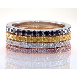 1.40 Carat, Set of 4 Eternity Rings W1249-50-52-53 Fancy Colored Diamonds, 10gr. 18K Gold