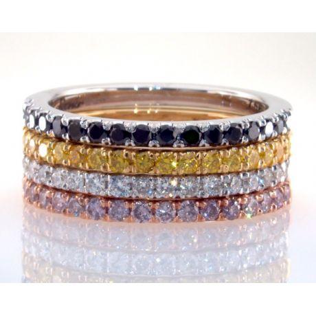 1.40 Carat, Set of 4 Eternity Rings W1249-50-52-53  Fancy Colored Diamonds, 10gr. 18K Gold