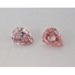 0.19 Carat, Pair of Natural Fancy Intense Brownish Pink Diamonds, SI1 Clarity, Pear Shape, IGI