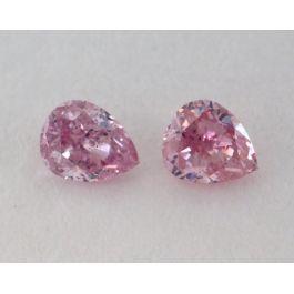 0.15 Carat, Pair of Natural Fancy Intense Pink Diamonds, I1 Clarity, Pear Shape, IGI