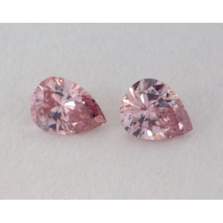 0.11 Carat, Pair of Natural Fancy Intense Pink Diamonds, I1 Clarity, Pear Shape, IGI