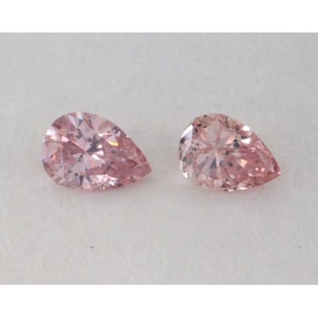 0.12 Carat, Pair of Natural Fancy Pink Diamonds, I1 Clarity, Pear Shape, IGI