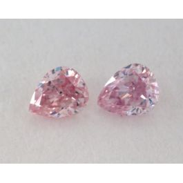 0.13 Carat, Pair of Natural Fancy Intense Pink Diamonds, SI1 Clarity, Pear Shape, IGI