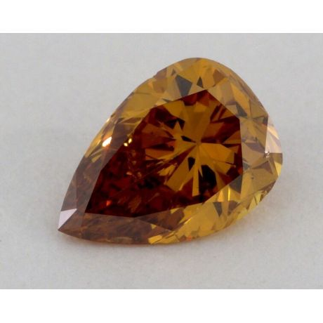 0.46 carat, Natural Deep Brownish Orangy Yellow, Pear Shape, GIA