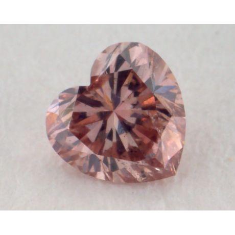 0.16 Carat, Natural Fancy Deep Brown Pink Diamond, SI2 Clarity, Heart Shape, IGI