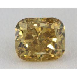 0.45 Carat, Natural Fancy Deep Brownish Yellow, Cushion Shape, I1 Clarity, GIA