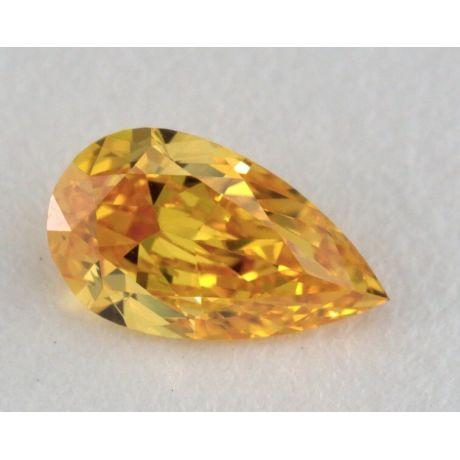 0.28 Carat, Natural Fancy Vivid Yellow-Orange, VS2 Clarity, Pear Shape, GIA