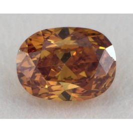 0.26 Carat, Natural Fancy Deep Brownish Yellowish Orange, Cushion Shape, I1 Clarity, GIA