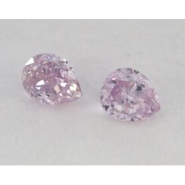 0.23 Carat, Pair of Natural Fancy Pink Purple, Pear Shape, SI1 Clarity, IGI