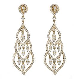 3.62 carat White Diamond Dangling Earrings with 14K Yellow Gold